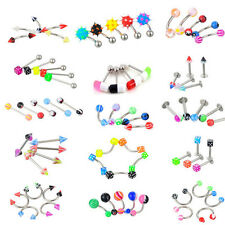 72Pcs Stainless Acrylic Ball Barbell Bar Eyebrows Nose Tounge Ring Body Piercing
