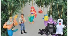 "Disney The Little Mermaid 7 pc Christmas Holiday Ornament PVC Figurine 1"" - 2.5"""