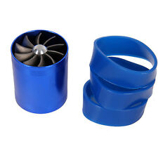 DUAL Double Suprecharger AIR INTAKE Fuel Saver Turbine Turbo Chargers Fan Blue