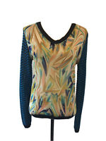 Missoni for Target Sheer Front Panel Knit Top Blue Sweater Size Medium