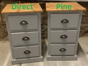 X 2 PAIR SHAFTESBURY 3 DRAWER BEDSIDE CABINET GREY/ PINE TOP & RUSTIC CUPS