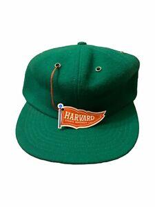Vintage Harvard Sports Headwear 100% Wool Hat Cap Green Blank Fitted 6 7/8