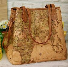 Women Vintage World Map Print Leather Shoulder Bag Tote Satchel Handbag