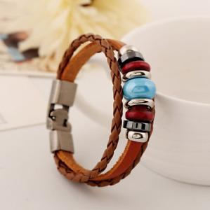 Tibet Stone Leather Festival Holiday Hippy Bracelet Boho
