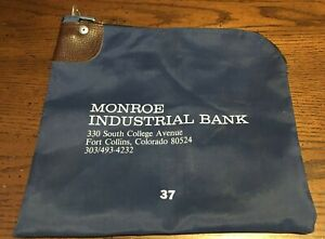 Vtg Nylon Locking Bank Deposit Bag, Monroe Industrial Bank, Ft. Collins, CO