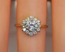 14K Yellow Gold .90 Ct TW (.66 Ct Diamond Solitaire) Ring W/ Accents, Size 6