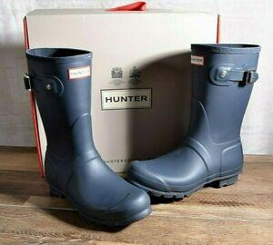 Hunter Women's Navy Matte Rubber Rain Boots Original Short 8 MED WFS1000RMA