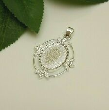 25x18 Oval  Silver Plated Cabochon (Cab) Pendant Setting (#KO5422)