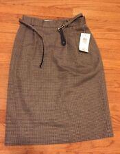 7105d5e86c7 Liz Claiborne Wool Blend Brown Tweed Belted Straight Pencil Skirt Sz 8