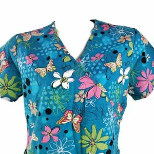 SB Scrubs Butterflies Flower Outlines Floral Small Scrub Top