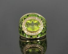 18k Yellow Gold Green Oval Peridot Round Diamond Green Black Enamel Sz 5