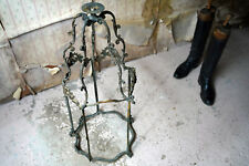 More details for antique french brass rococo revival hanging hall lantern c.1880