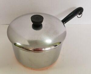Revere Ware 4 QT Quart Sauce Pan Pot Copper Clad Bottom with Lid