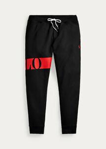 Polo Ralph Lauren Men's Double Knit Graphic Jogger Pants Black red Size XL
