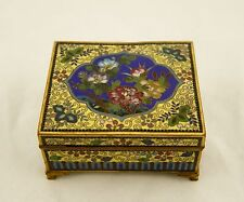 Inaba Meiji Japanese Cloisonne wired enamel floral hinged lidded box