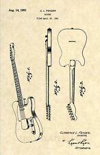 Official 1951 Fender Telecaster US Patent Art Print - Vintage Antique Guitar 204