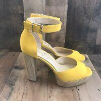 Jessica Simpson Caiya Sunflower Women's Yellow Leather Platform Heel Size 8.5M