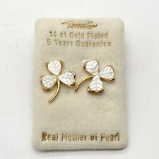 VINTAGE 14CT ROLLED GOLD MOTHER OF PEARL LUCKY 3 LEAF CLOVER LADIES EARRINGS