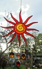 RED & ORANGE SUN  SUN CATCHER 30 cm STAINED GLASS EFFECT