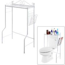 Space Saver Metal Storage Rack/Freestanding Bathroom Shelf w/Basket, White