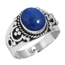 925 Sterling Silver Ring Natural Lapis Handmade Jewelry Size 11.5 cx31073