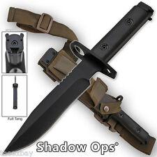 """FULL TANG m 1/4 9 Blade Bayonet BLACK Handle Combat Knife Sheath Ar 14"""" 15"""" 16"""""""