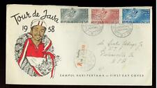 1963 Bali Indonesia First Day Cover # B154 B155 mount agung erupting volcano