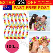 100pcs Hawaiian Tropical Beach Theme Luau Party Flower Lei Leis Necklace Garland
