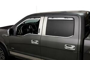 Element Chrome Window Visors - 2017-2018 Ford F250 F350 F450 Crew Cab SD 4PC Set