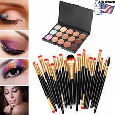 15 Colors Makeup Contour Face Cream Concealer Palette 20PC Powder Brush Set