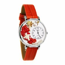 Leather Watch in Silver (Large) Whimsical Watches Women's Valentine's Day Red