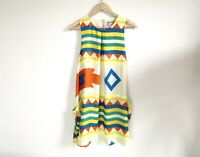 Purple Ginger Ziggy Trapeze Dress Size 10 Aztec Print Sleeveless Cream