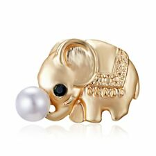 Brooch Pin Women Costume Jewelry Gift Gold Elephant Animals Pearl Printing Badge