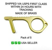 Contactless Safety Brass Key, NO Touch Door Opener, USA Seller 5PCs