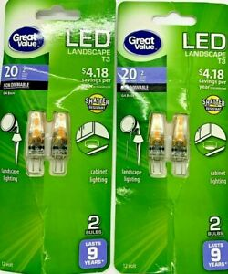 Great Value LED Light Bulb, 2 Watts (20W Eqv.) T3 Lamp G4 Base, Non-Dimmable