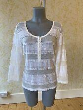 DENIM & SUPPLY Ralph Lauren ivory stretch lace/mesh long sleeve henley top XL 16