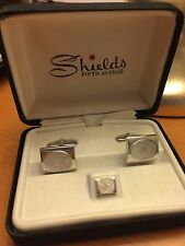 SHIELDS Silver Metal Cuff Links & Tie Pin Set In Box