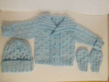 Hand Knitted Baby Jacket / Baby Cardigan Hat and Mittens 0-3 months Blue Aran