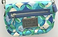 """Coach Poppy Small Clutch Purse Blues/Greens/White w/13"""" Strap Pre-owned"""