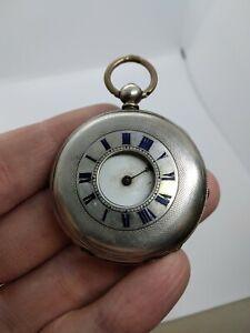 Solid Silver Pocket Watch - Half Hunter - Key Wind