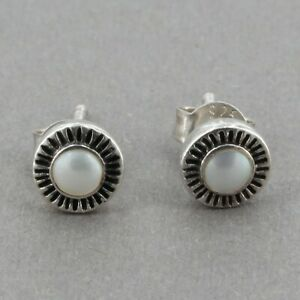 HTF Retired Silpada Sterling Silver Freshwater Pearl Stud Earrings Part of W1578