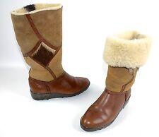 Arcus chaussures! vintage botas de invierno marrón 40 real fell cordero wedge genial