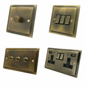 Victorian Step Edge Antique Brass Plug Sockets Light Switches Dimmers Full Range