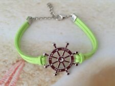 NAUTICAL SILVER PLATED SHIPS WHEEL CHARM GREEN SUEDE CORD BRACELET JEWELLERY