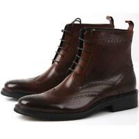 Men's GENUINE Leather oxford Brogue Wingtip lace up Boots Leather military Shoes