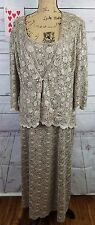 R & M Richards Womens Dress 18 Taupe Mother of Bride Lace Jacket Gold Sequins