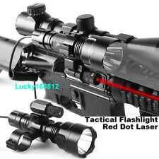 CREE LED Tactical Flashlight + Mini Red Dot Laser Sight + Barrel Mount Adapter
