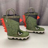 NEW Kids Dinosaur Rain Boots - Rubber Waterproof Lined - Toddler Boys Girls 7