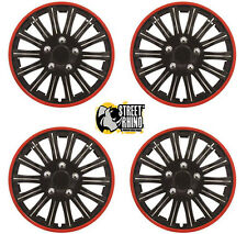 "Fiat Ducato 15"" Lightning Matt Black & Red Universal Car Wheel Trim Covers"