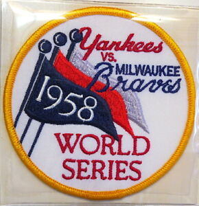 1958 WORLD SERIES NEW YORK YANKEES / MILWAUKEE BRAVES Willabee & Ward PATCH ONLY